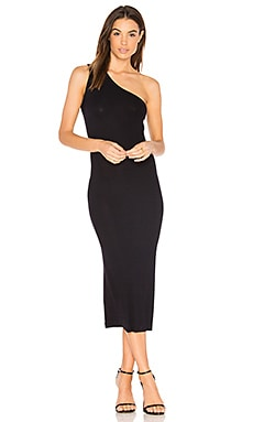 Rib One Shoulder Midi Dress in Nuit