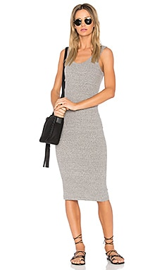 Rib Tank Midi Dress in Heather Grey
