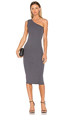 Rib One Shoulder Midi Dress in Castlerock