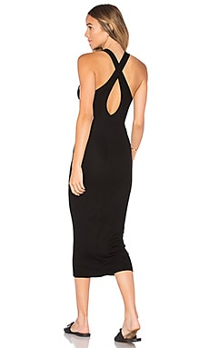 Rib Crossback Midi Dress in Black