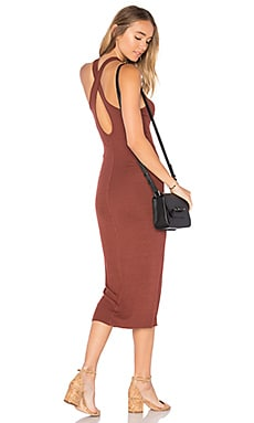 Rib Crossback Midi Dress in Sable