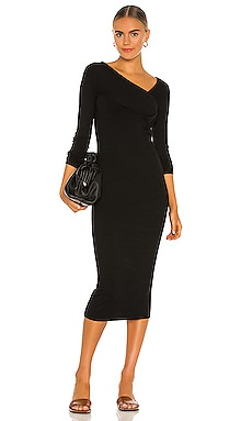 Viscose Rib Asymmetrical Wrap Midi Dress Enza Costa $224