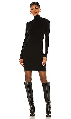 Tencel Cashmere Rib Long Sleeve Zip Turtleneck Mini Dress Enza Costa $297