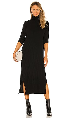 Sweater Rib Turtleneck Sheath Dress Enza Costa $295 NEW