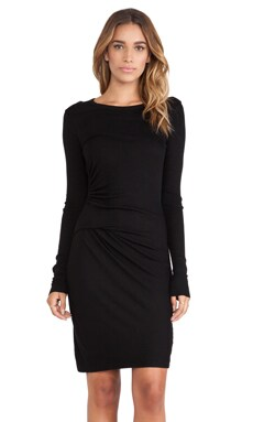 Enza Costa Rib Long Sleeve Gathered Dress in Black