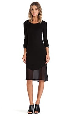 Enza Costa Rib Baseball Dress in Black & Black