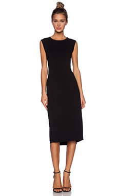 Enza Costa Twist Back Midi Dress in Black