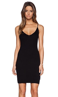 Enza Costa Rib Racer Tank Dress in Black