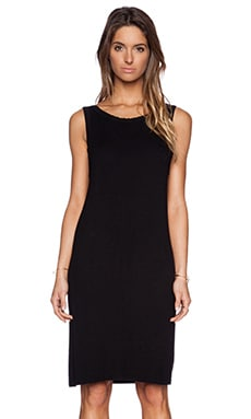 Enza Costa Rib Scoop Back Dress in Black