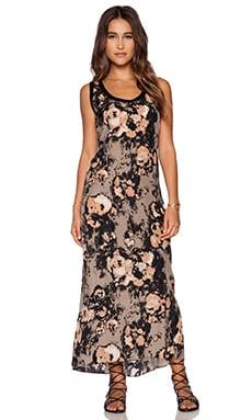 Enza Costa Printed Midi Tank Dress in Walnut Floral