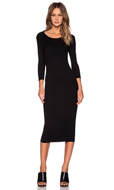 Enza Costa Silk Jersey Rib 3/4 Sleeve Dress in Black