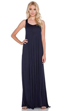 Enza Costa Silk Rib Wide Strap Maxi Dress in Black Iris