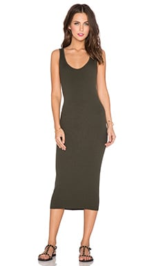 Enza Costa Rib Tank Dress in Olive Night