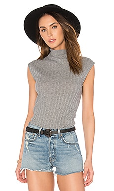 Cashmere Sleeveless Turtleneck Tank in Smoke