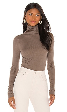 Silk Cashmere Rib Long Sleeve Turtleneck Enza Costa $156