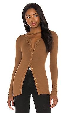 Silk Rib Fitted Long Sleeve Cardigan Enza Costa $156