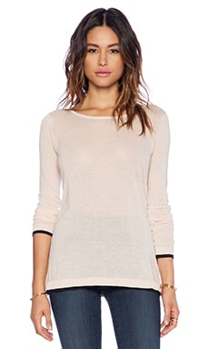 Enza Costa Cashmere Colorblock Sweater in Rose & Black