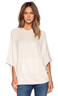 Enza Costa Cashmere Corron Knit Hooded Poncho in Sandshell
