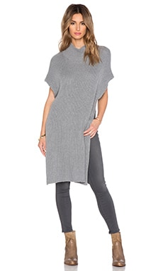 Enza Costa Cashmere Sleeveless Tunic in Grey Melange