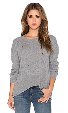 Enza Costa Cashmere Oversized Sweater in Grey Melange