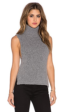 Enza Costa Turtleneck Vest in Grey Melange