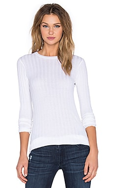 Enza Costa Cashmere Slim Long Sleeve Crew Neck Sweater in White