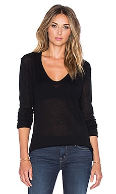 Enza Costa Cashmere Sweater in Black