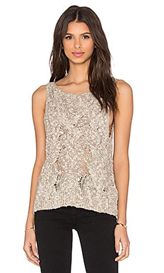 Enza Costa Cable knit Boatneck Shell Tank in Dark Natural