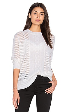 Oversize Basketweave Crew Neck Sweater in Blanco