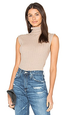 Cashmere Rib Sleeveless Turtleneck Sweater in Khaki