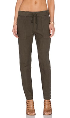 Enza Costa French Linen Pant in Olive Drab