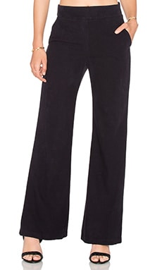Enza Costa Silk Noil Wide Leg Trouser in Nuit