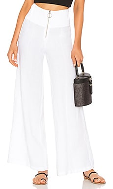 French Linen Pintuck Wide Leg Pant