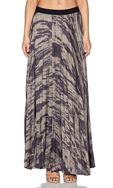 Enza Costa Pleated Maxi Skirt in Army Cahira
