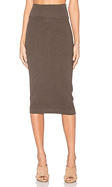 Enza Costa Rib Midi Tube Skirt in Black Olive