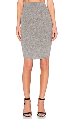Enza Costa Rib Baseball Skirt in Heather Grey