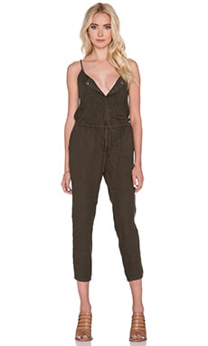 Enza Costa French Linen Strappy Jumpsuit in Olive Drab