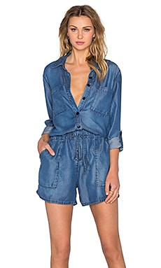 Enza Costa Long Sleeve Romper in Indigo