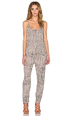Enza Costa Strappy Jumpsuit in Limestone Etch