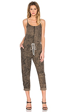 Linen Strappy Jumpsuit in Black Olive