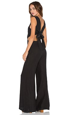 Enza Costa Wrap Tie Jumpsuit in Faded Black