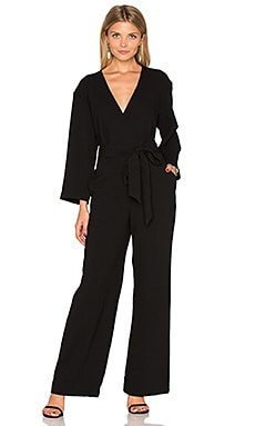 Long Sleeve Wrap Jumpsuit in Black