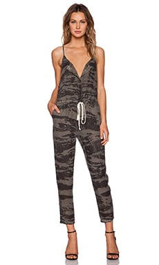 Enza Costa Linen Strappy Jumpsuit in Army Cahira