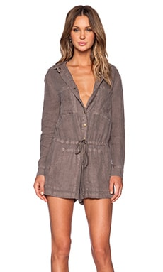 Enza Costa French Linen long Sleeve Romper in Faded Walnut