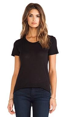 Enza Costa Tissue Jersey Short Sleeve Crew in Black