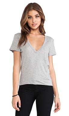 Enza Costa Loose Short Sleeve V Tee in Light Heather Grey