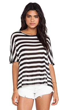Enza Costa Stripe Dolman Top in Black & White