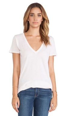 Enza Costa Loose Short Sleeve V Tee in Oyster