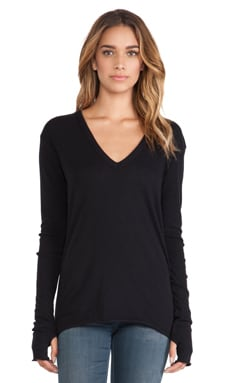 Enza Costa Cashmere Loose V Sweater in Black