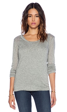 Enza Costa Doubled Long Sleeve Tee in Smoke